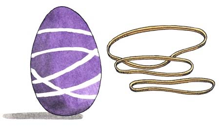 Rubber band eggs for Easter. KinderArt.com