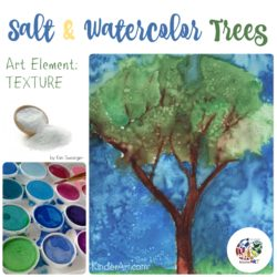 Salt and Watercolor Trees art lesson