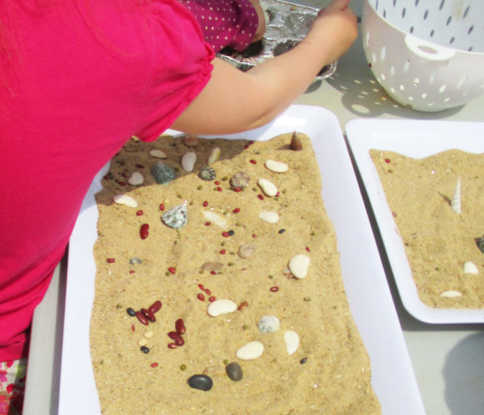 Sand mosaics craft for kids.