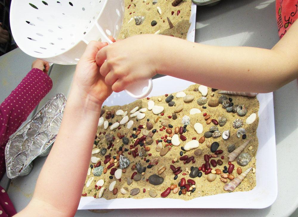 Sand mosaics craft for kids.