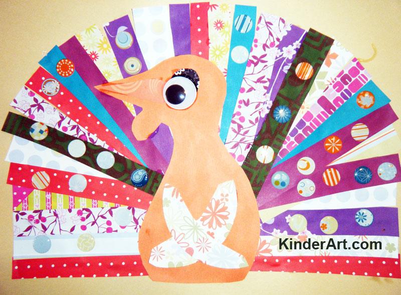 Scrap Paper Turkey craft. KinderArt.com