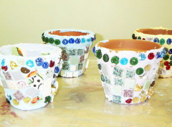 Make mosaic flowerpots without using grout. KinderArt.com art lesson plans.