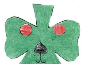 Shamrock Puppy Craft. KinderArt.com