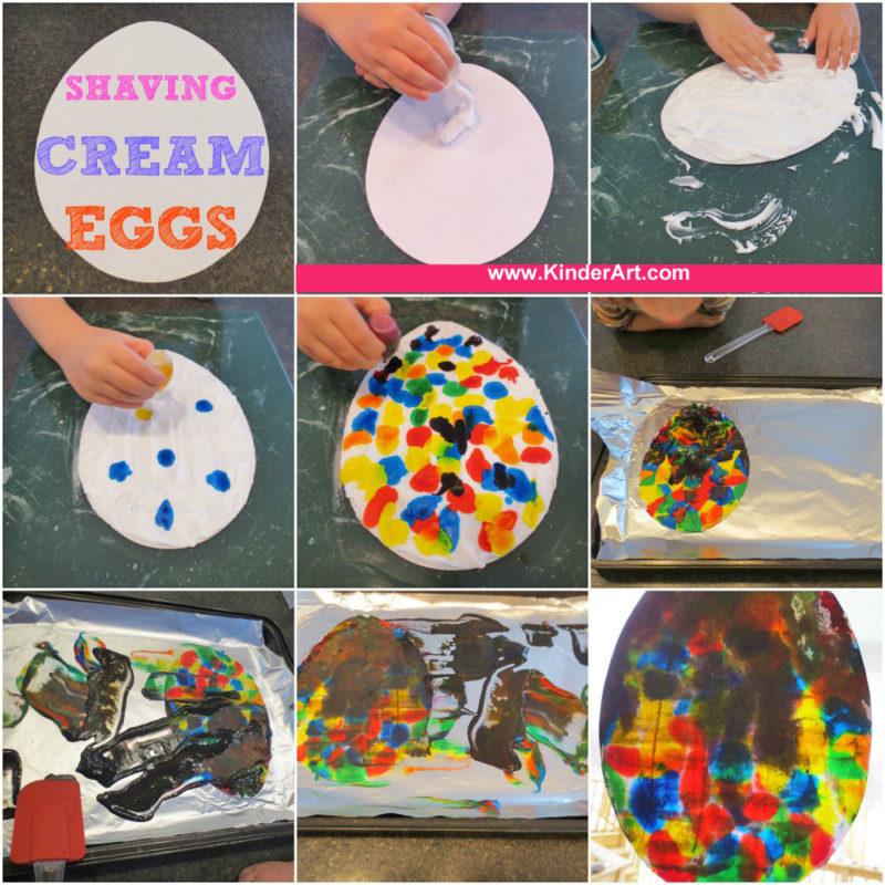 Shaving Cream Egg Craft for Kids from KinderArt.com