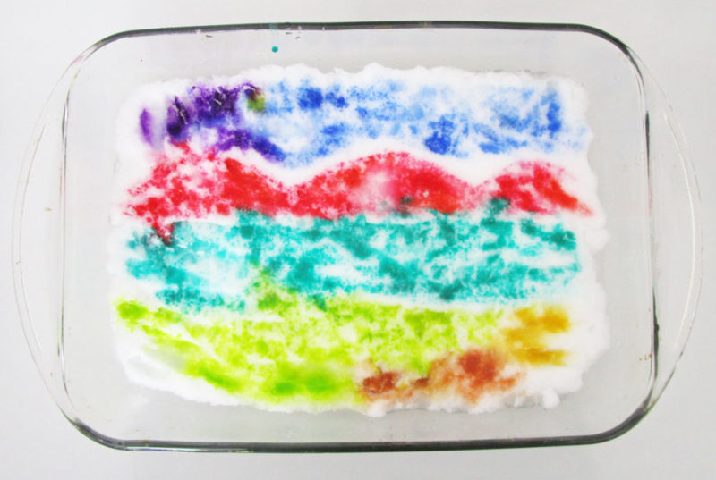 Painting the snow with watercolours. KinderArt.com.