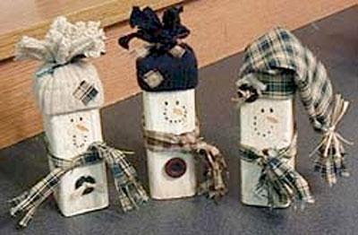 Wood Scrap Snowman Craft. KinderArt.com