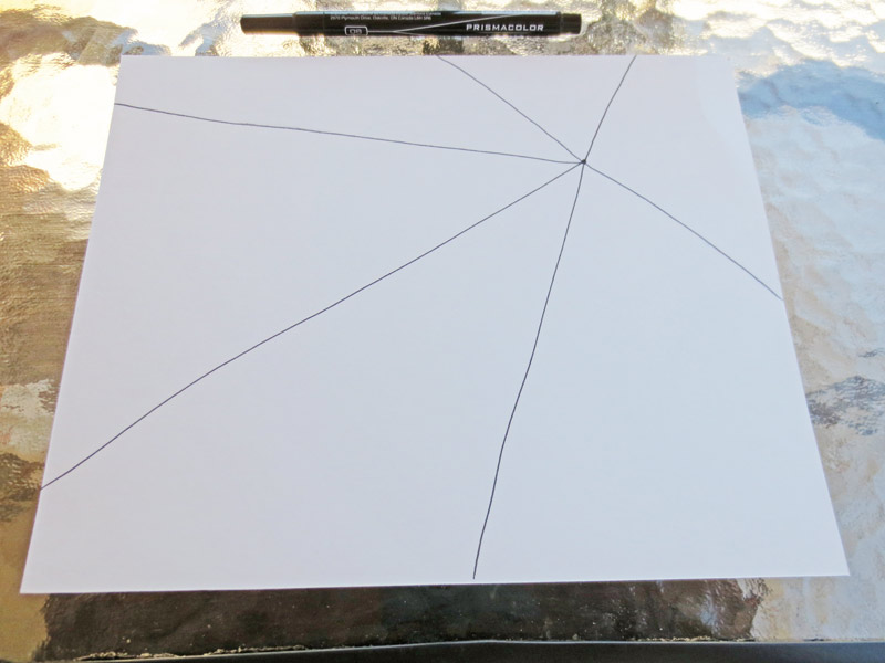 Make a spider web drawing - draw lines from the dot.