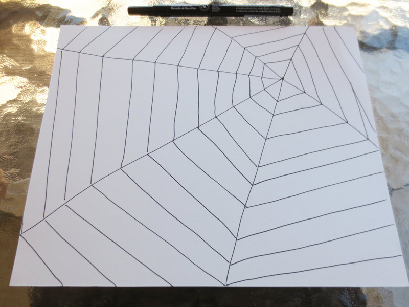 Make a spider web drawing - make connecting lines