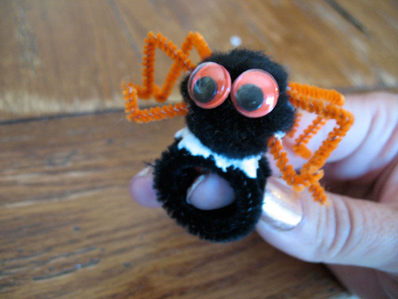 Wrap the black chenille stem around the finger you want to wear your ring on.