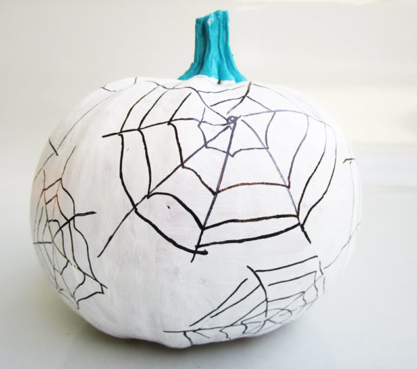 Spider web pumpkin. KinderArt.com
