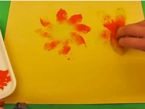 Sponge painting flowers.