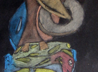 Stained Glass Look-Alike Glue and Pastel Totem Pole Drawings