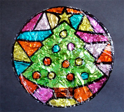 Plastic Wrap Stained Glass Craft From Kinderart Com