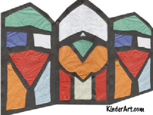 Stained glass paper screen.