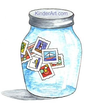 Stamp jar or box.