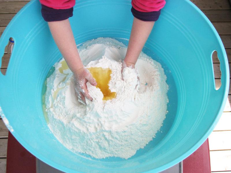 How to make cloud dough for kids. KinderArt.com.