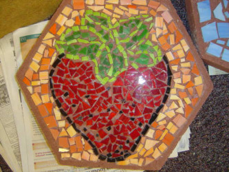 Cut glass mosaic stepping stones