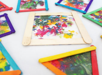 Melted crayon sun catchers craft for kids