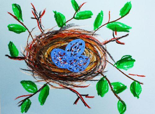 Swirly bird nest art lesson