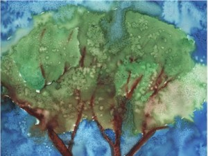 Salt and watercolor paint trees.