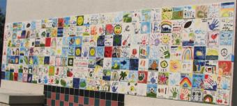 Painted tiles mural