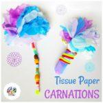Kids can make this big carnation flowers using tissue paper. KinderArt.com