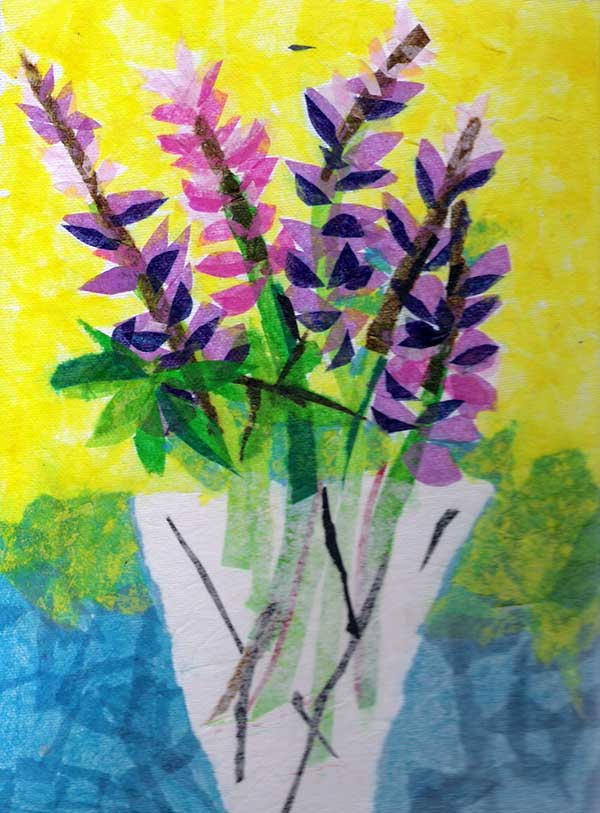 Tissue paper collage flowers on canvas lesson plan sculpture for share this lesson mightylinksfo