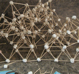 Toothpick and marshmallow sculpture.