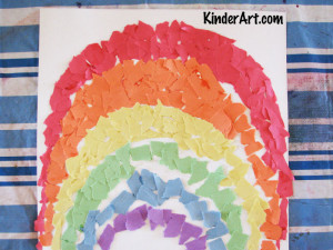 Torn paper rainbows.
