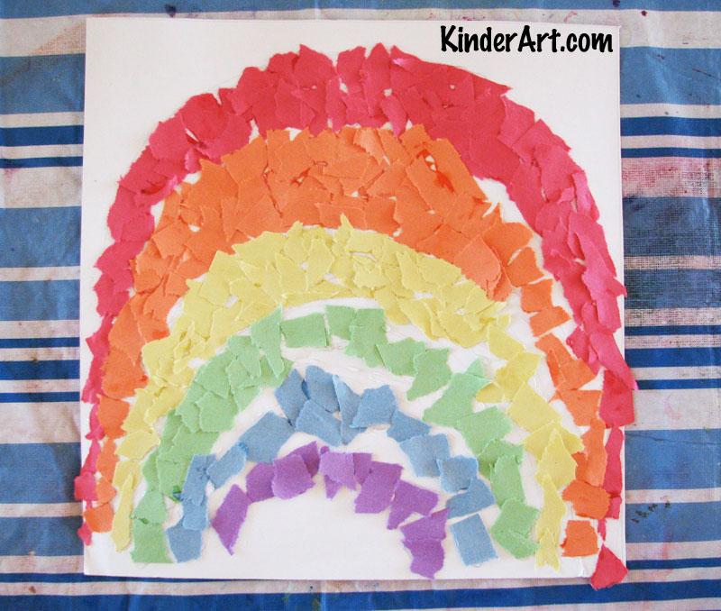 Torn paper rainbows.