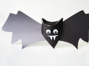 Toilet paper roll bat craft from KinderArt.com