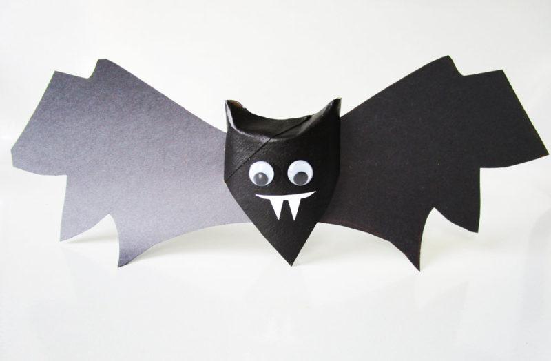 Toilet paper roll bat craft from KinderArt.com