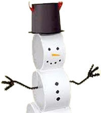 Easy Toilet Paper Roll Snowman Craft. KinderArt.com