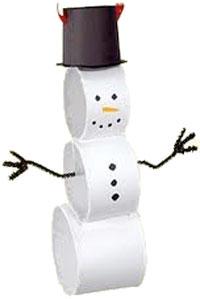 Easy Toilet Paper Roll Snowman Craft. KinderArt.com