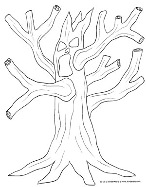 scary halloween tree coloring pages - photo#8