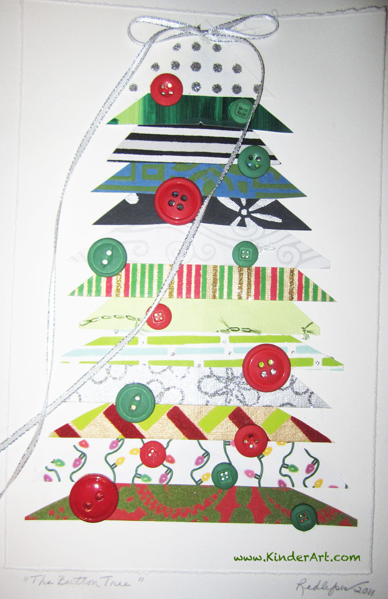 Triangles and Buttons Tree Craft. KinderArt.com