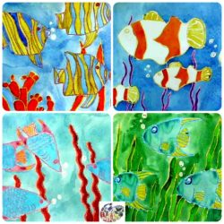 Under the Sea crayon resist drawings and paintings.