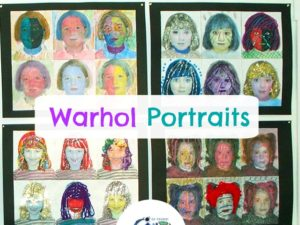 Andy Warhol style Pop Art Self Portraits Art Lesson Plan. KinderArt.com