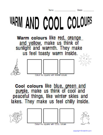 Warm Cool Colours Worksheet Kinderart