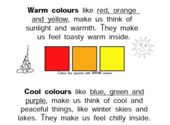 Warm Cool Color Worksheet Sample. KinderArt.com