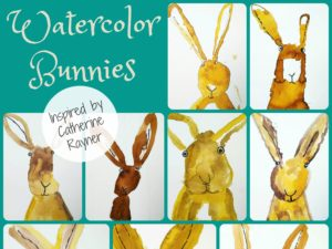 Watercolor bunnies inspired by Catherine Rayner. By Misty Buck. KinderArt.com.