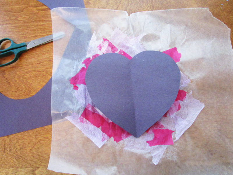 Construction paper heart.