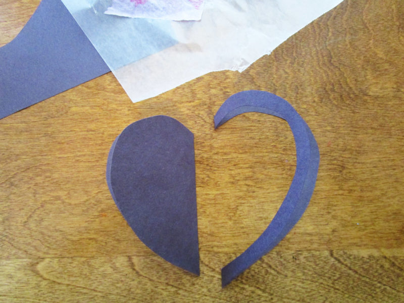 Construction paper heart. Faux Stained Glass Hearts Lesson Plan. KinderArt.com
