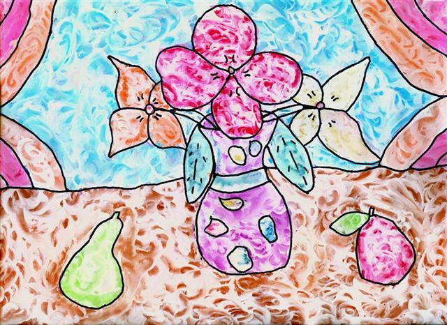 Wet Chalk (Chalk and Paint) Drawings. KinderArt.com