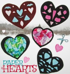 Paper Hearts Art Lesson Plan. KinderArt.com