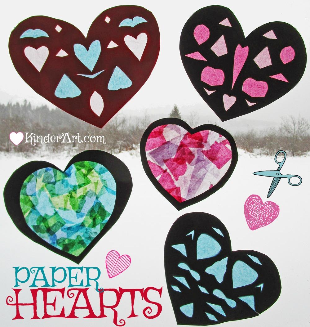 Paper Hearts Art Lesson Plan. KinderArt.com