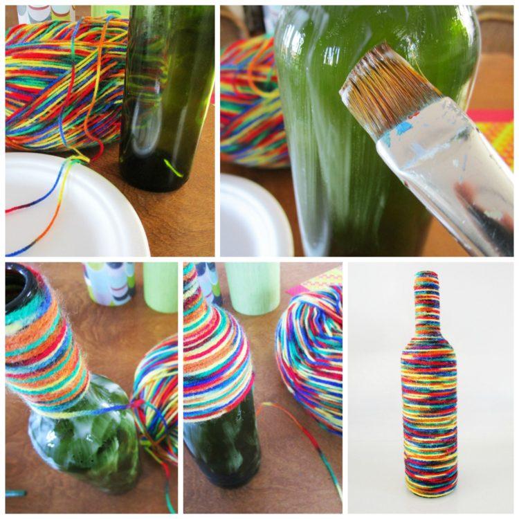 How to make a wine bottle vase. KinderArt.com