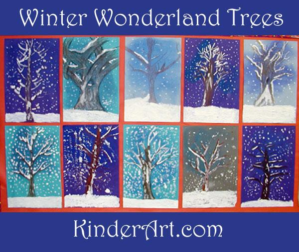Winter Wonderland Trees. KinderArt.com