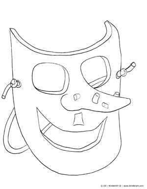 Witch Mask Coloring Page KinderArt